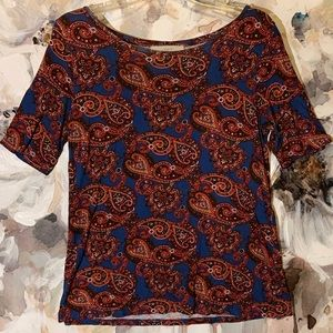 BLUE and RED PAISLEY TOP * LOFT * Size MEDIUM